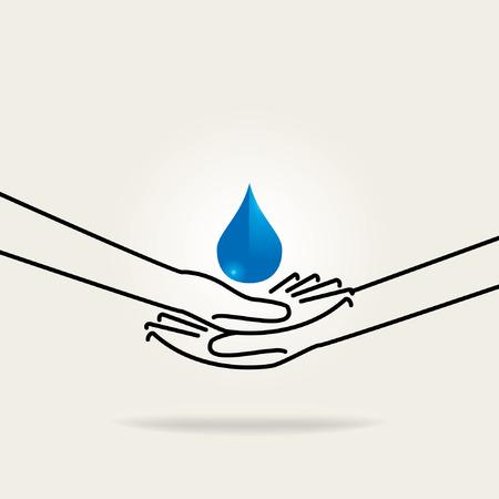 節水の手で水の概念を保存します。
