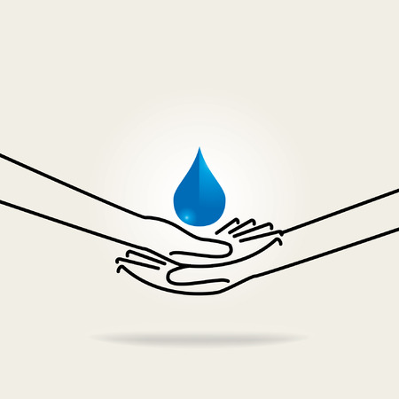 water concept: save water concept with hand saving water