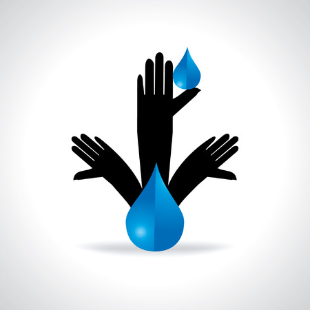 leaf water drop: standing hands appeal for save water