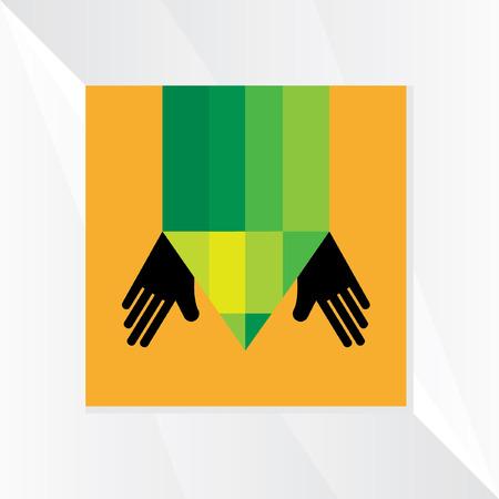 soins mains: crayon avec le vecteur de soins des mains