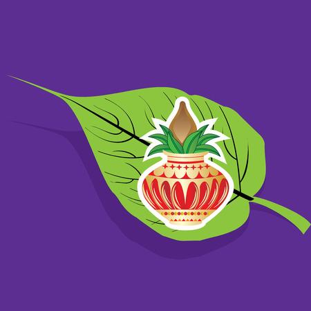 pin�culo: hoja peepal creativo con pin�culo Vectores