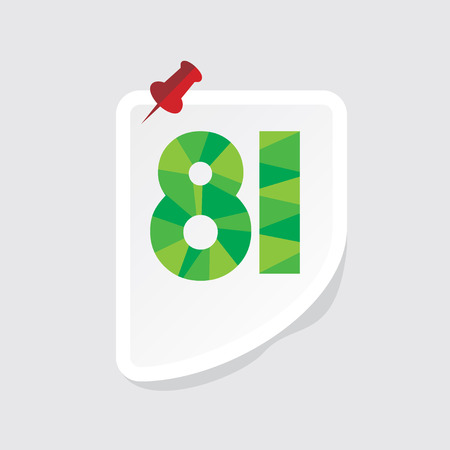 81: creative abstract numeric number 81 vector Illustration