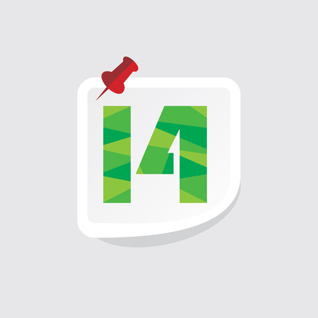 number 14: creative abstract numeric number 14 vector Illustration