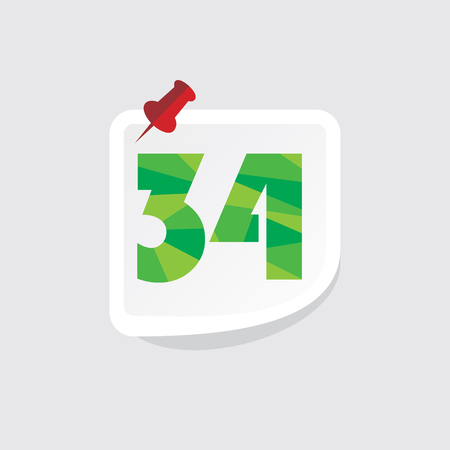 34: creative abstract numeric number 34 vector Illustration
