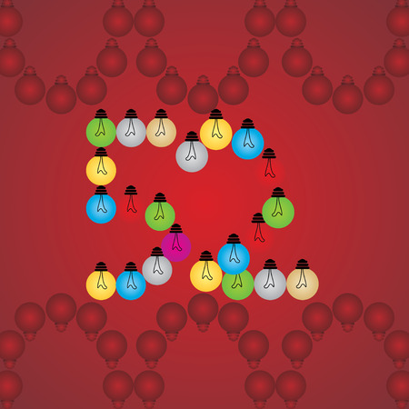 numeric: creative 52 numeric number created with bulb Illustration