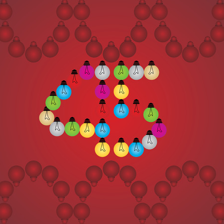 numeric: creative 45 numeric number created with bulb