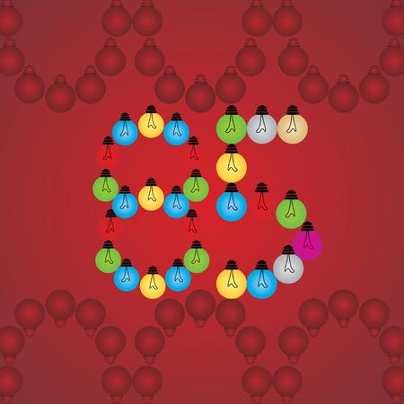 numeric: creative 85 numeric number created with bulb
