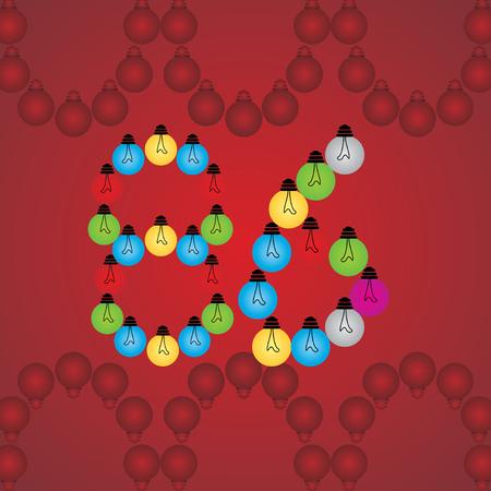 numeric: creative 86 numeric number created with bulb
