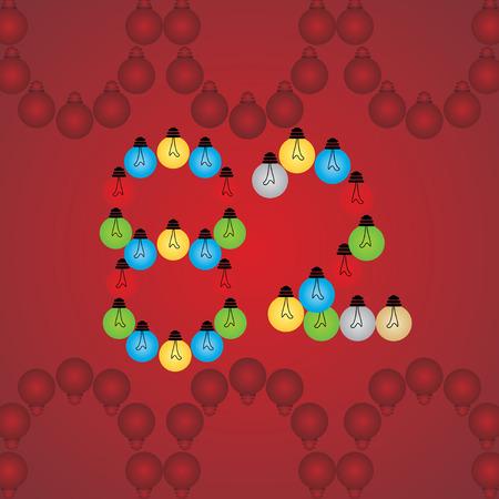 numeric: creative 82 numeric number created with bulb