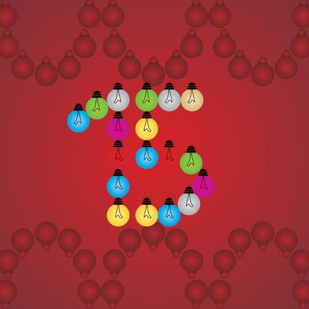 numeric: creative 15 numeric number created with bulb Illustration