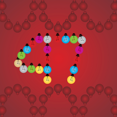 numeric: creative 47 numeric number created with bulb Illustration