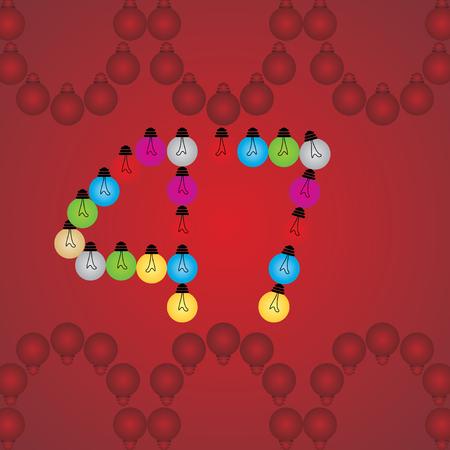 numeric: creative 47 numeric number created with bulb Illustration