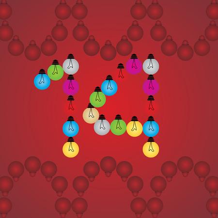 numeric: creative 14 numeric number created with bulb