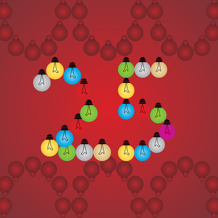 numeric: creative 25 numeric number created with bulb Illustration