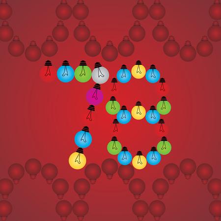 numeric: creative 78 numeric number created with bulb