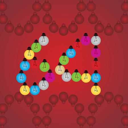 numeric: creative 64 numeric number created with bulb