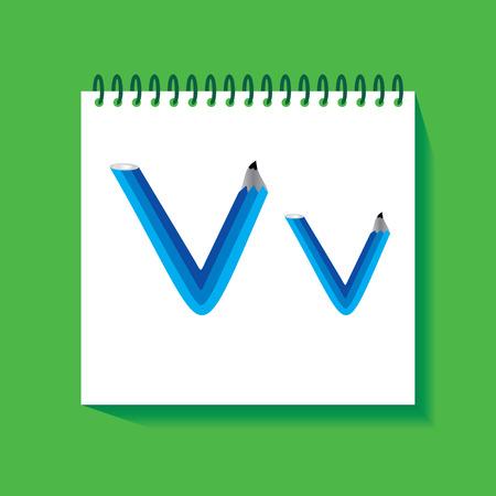 v alphabet: V Alphabet created with pencil vector