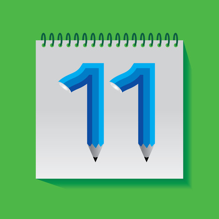 11 number: 11 Numeric number created with pencil Illustration