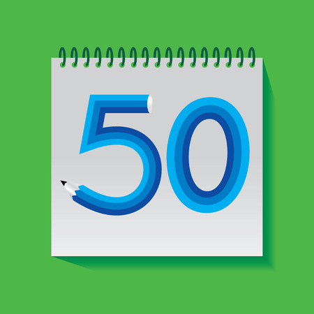 50 number: 50 Numeric number created with pencil