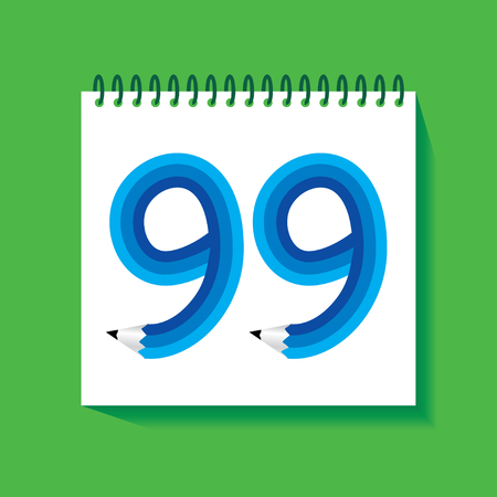 99: 99 Numeric number created with pencil