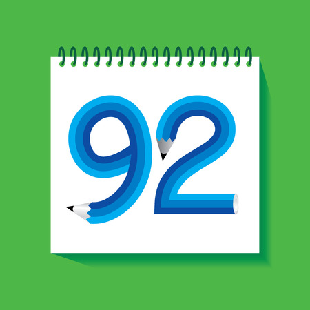 92: 92 Numeric number created with pencil Illustration