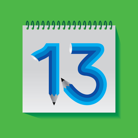 number 13: 13 Numeric number created with pencil