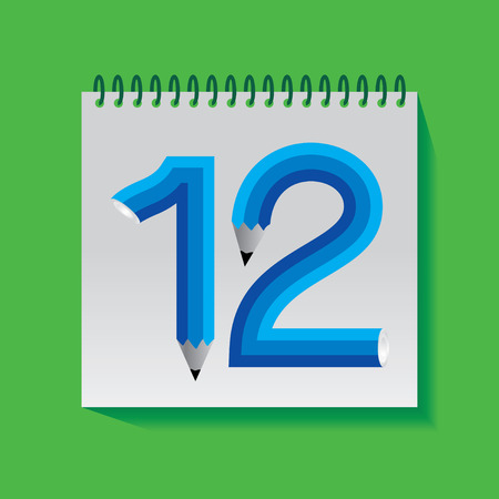 number 12: 12 Numeric number created with pencil Illustration