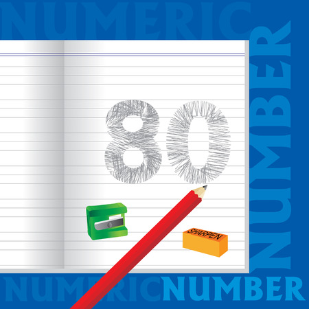 sketched: creative 80 numeric number sketched by pencil school education concept Illustration