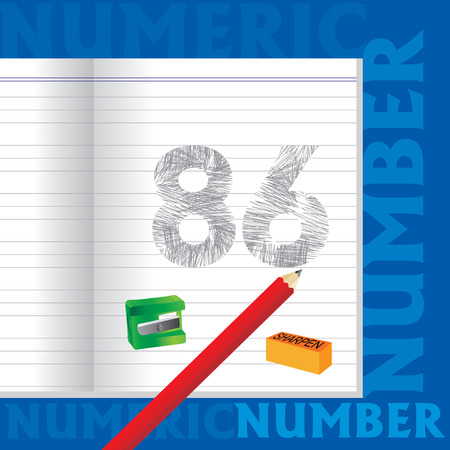 sketched: creative 86 numeric number sketched by pencil school education concept Illustration