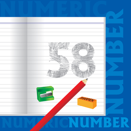 sketched: creative 58 numeric number sketched by pencil school education concept Illustration