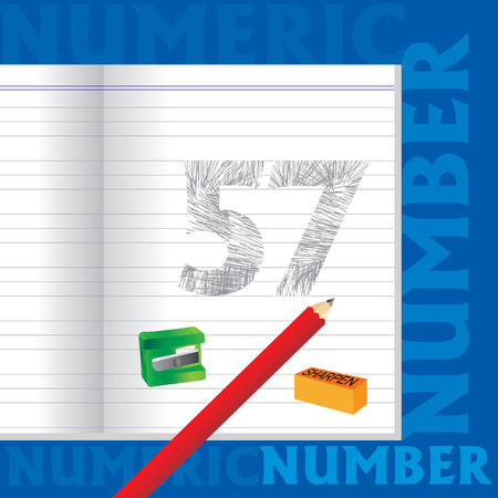 57: creative 57 numeric number sketched by pencil school education concept Illustration