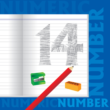 numeric: creative 14 numeric number sketched by pencil school education concept