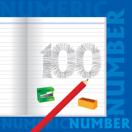 numeric: creative 100 numeric number sketched by pencil school education concept Illustration