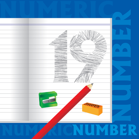 sketched: creative 19 numeric number sketched by pencil school education concept