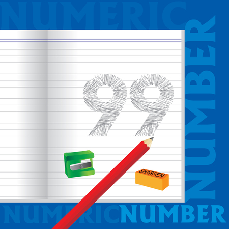 99: creative 99 numeric number sketched by pencil school education concept Illustration