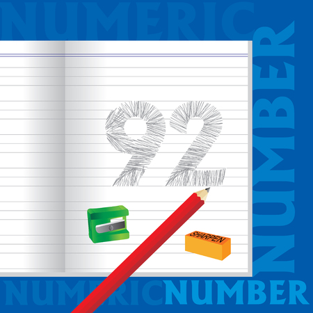 92: creative 92 numeric number sketched by pencil school education concept