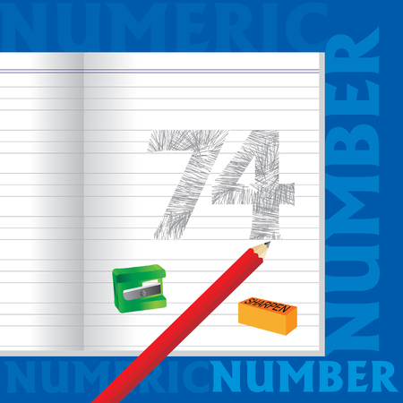 sketched: creative 74 numeric number sketched by pencil school education concept