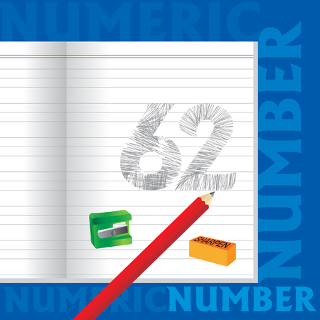 sketched: creative 62 numeric number sketched by pencil school education concept