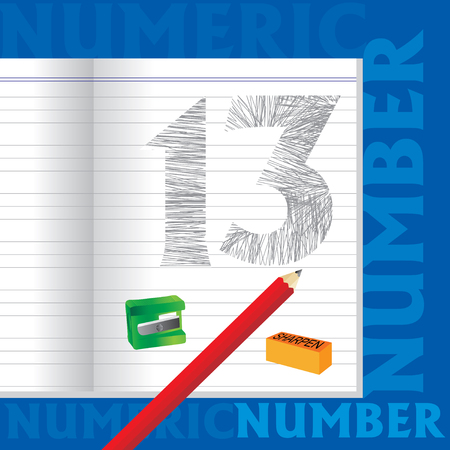 number 13: creative 13 numeric number sketched by pencil school education concept