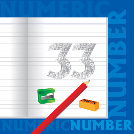 sketched: creative 33 numeric number sketched by pencil school education concept Illustration