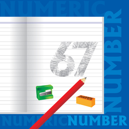 sketched: creative 67 numeric number sketched by pencil school education concept