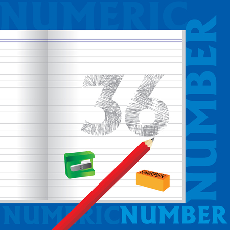 number 36: creative 36 numeric number sketched by pencil school education concept