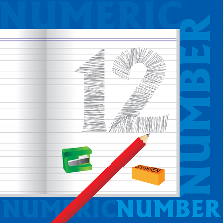 numeric: creative 12 numeric number sketched by pencil school education concept