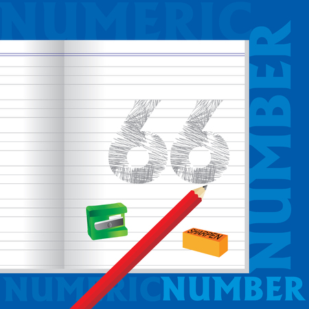 sketched: creative 66 numeric number sketched by pencil school education concept