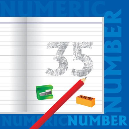 sketched: creative 35 numeric number sketched by pencil school education concept Illustration