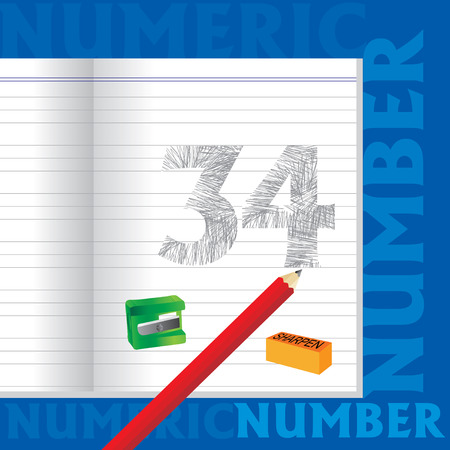 34: creative 34 numeric number sketched by pencil school education concept