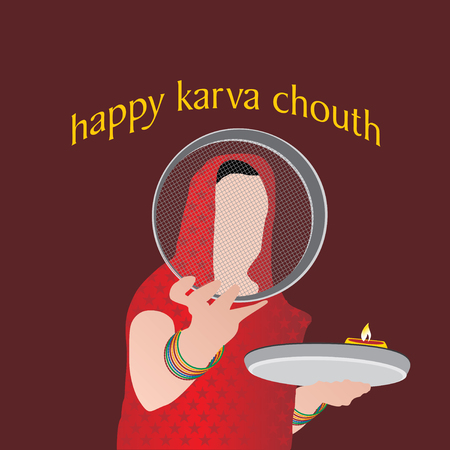 husband and wife: creative karva chauth concept vector Illustration