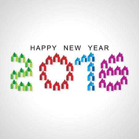 happy new year with home Ilustração