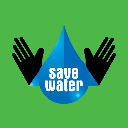water concept: save water concept with hand