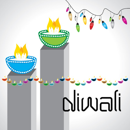 swastika: diwali greeting concept with lamp